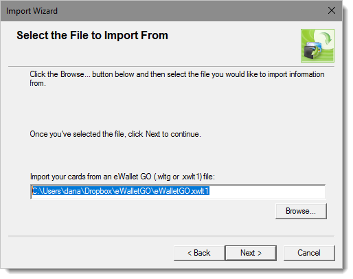 Screenshot, importing backup GO file
