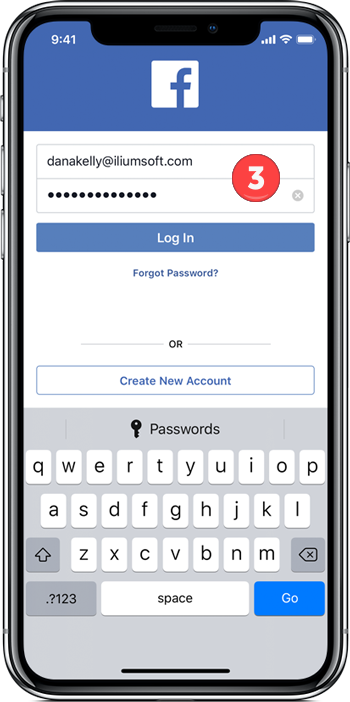 Facebook with login information entered
